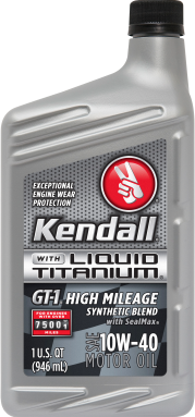 Kendall GT-1 High Mileage Synthetic Blend Motor Oil with Liquid Titanium